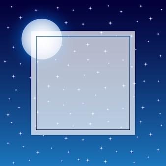 Fulll moon en starry night sky frame achtergrond