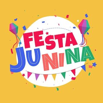 Fun festa junina viering plat ontwerp