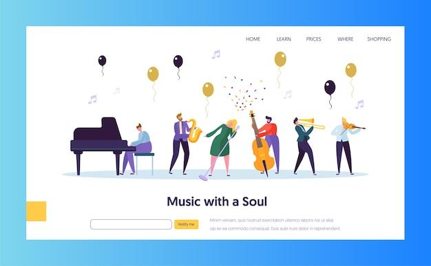 Fun jazz concert show concept-bestemmingspagina. muzikant karakter met muziekinstrument saxofoon piano viool trompet. kleurrijke jazz band image website of webpagina. platte cartoon vectorillustratie
