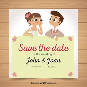 Fun wedding invitation met man en vrouw