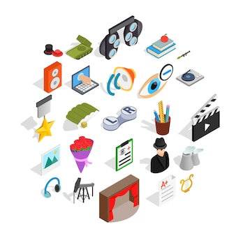 Functionerende iconen set, isometrische stijl
