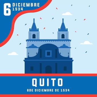 Fundacion de quito on december celebration met prachtige grafische inhoud
