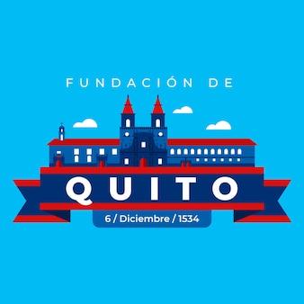 Fundacion de quito op blauwe achtergrond