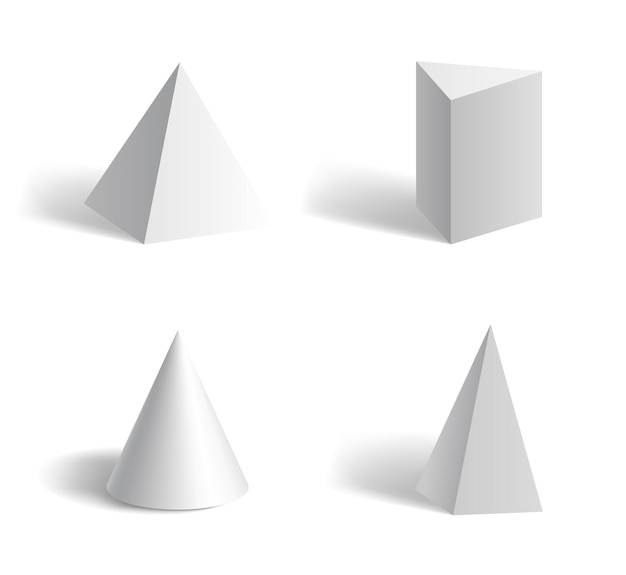 Fundamentele 3d geometrische piramidevormen zeshoekig, vijfhoekig, kegelwit