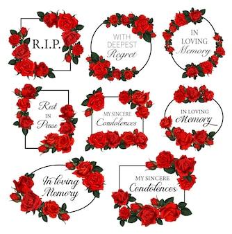 Funereal frames met rode rozen bloemen