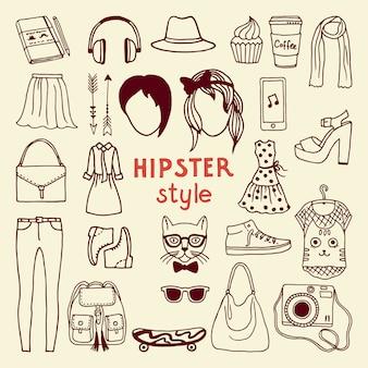 Funky elementen van de hipsterstijl van wijfje. verschillende stijlvolle accessoires