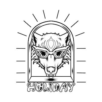 Funky fox hoofd silhouet