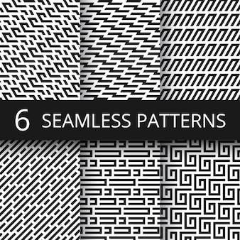 Funky lijn geometrische vector naadloze patronen. gestreepte herhalings vectortexturen met optische illusieeffect