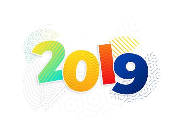 Funky nieuwe het jaarachtergrond van memphis stijl 2019