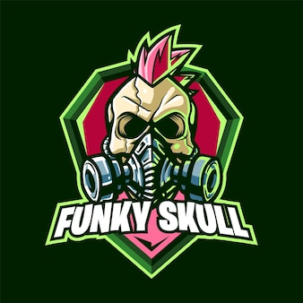 Funky skull mascotte logo voor esport en sport Premium Vector