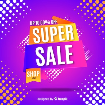 Funky super verkoop banner concept