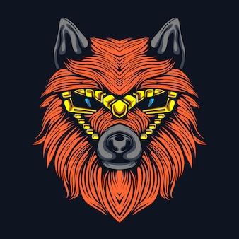 Funky wolf kunstwerk illustratie