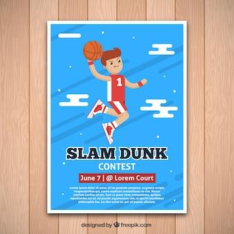 Funny basketbalspeler brochure in plat design