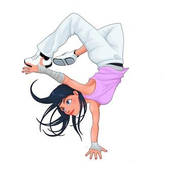 Funny breakdancer vector geïsoleerde karakter