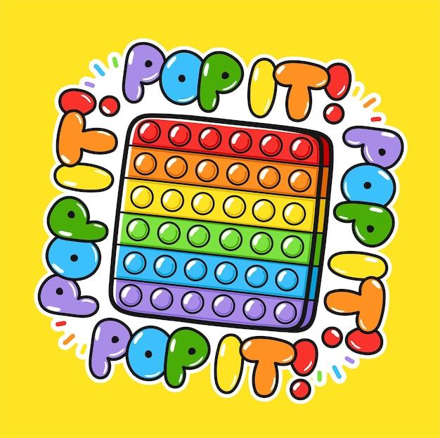 Funny pop it fidget zintuiglijk speelgoed logo sjabloonontwerp