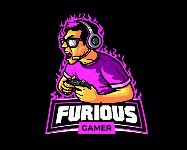Furious gamer cartoon logo mascot