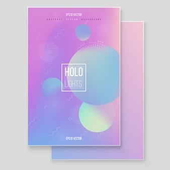 Furistische moderne holografische coverset. 90s, 80s retrostijl. hipster stijl grafische geometrische holografische elementen. moderne tredy memphis-stijl.
