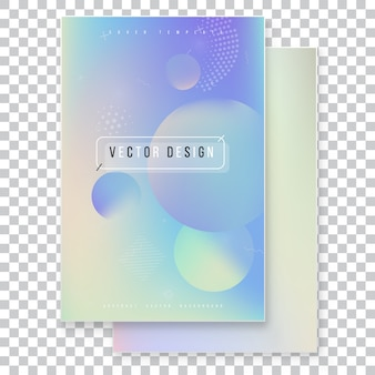 Furistische moderne holografische coverset. 90s, 80s retrostijl.