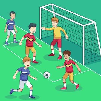 Futsalveld met spelers