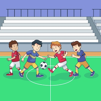 Futsalveld met spelersillustratie