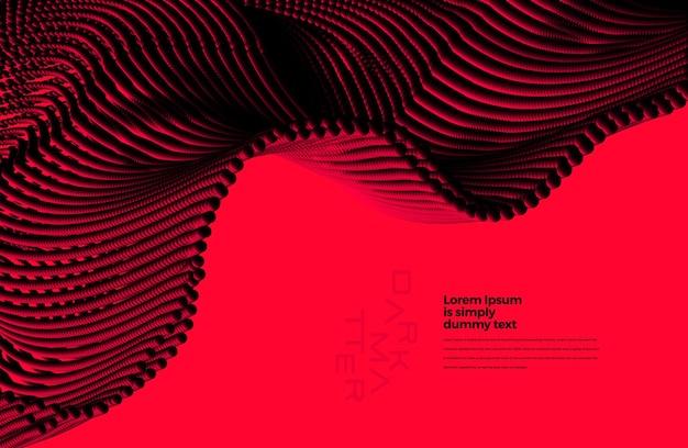 Futuristisch abstract achtergrondelement met donkere deeltjesgolf