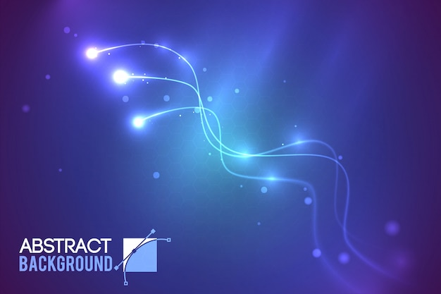 Futuristisch abstract technologisch malplaatje met gebogen lijnen en lichteffecten op donkere illustratie