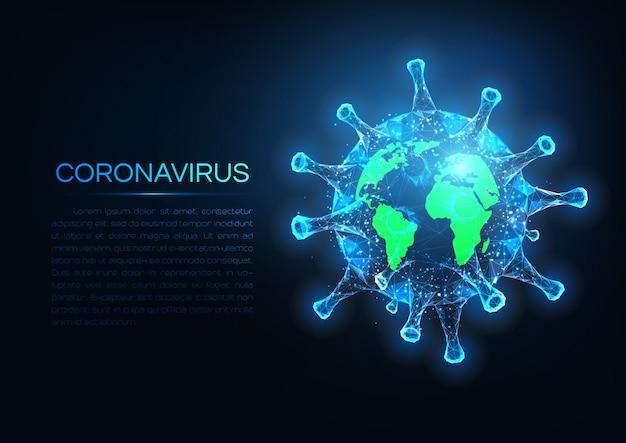 Futuristisch coronavirus verspreid over het wereldconcept