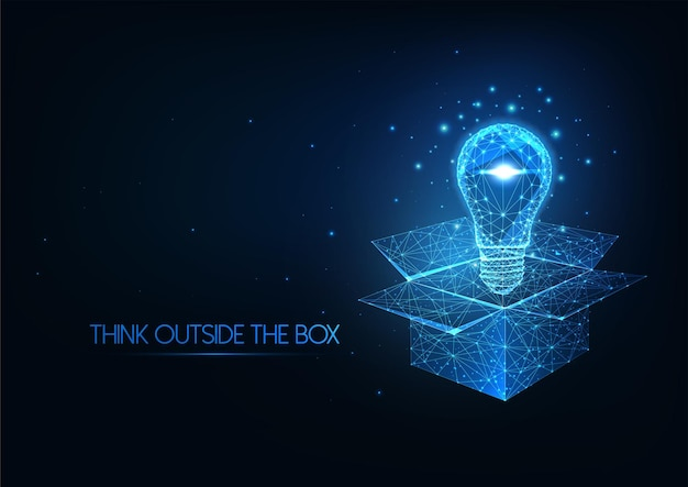 Futuristisch denken buiten de doos-concept met gloeiende lage veelhoekige gloeilamp over geopende doos