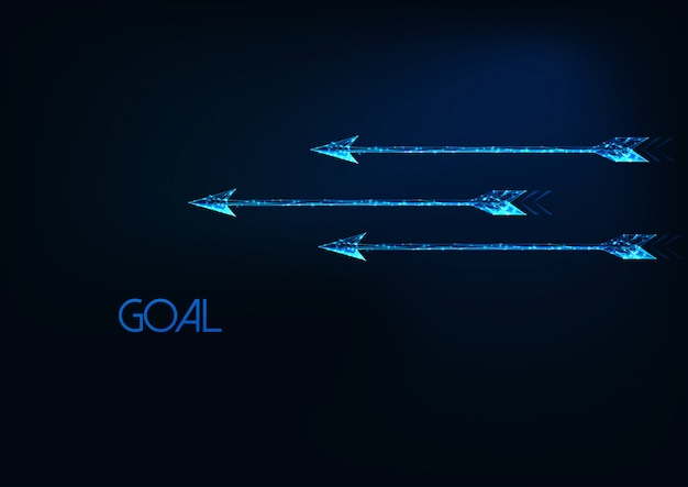 Futuristisch doelconcept met drie gloeiende lage veelhoekige bewegende pijlen die op donkerblauw worden geïsoleerd.