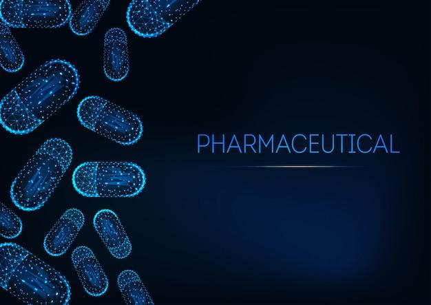 Futuristisch geneeskundeconcept met gloeiende lage veelhoekige capsulepillen op donkerblauwe achtergrond.
