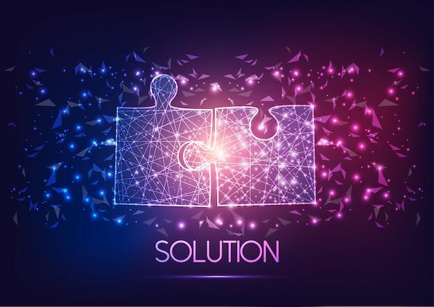 Futuristisch gloeiend draadframeontwerp twee puzzelstukken die bij elkaar passen.