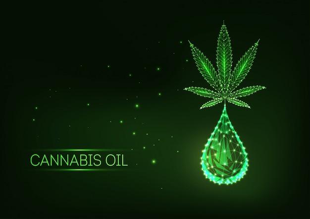 Futuristisch gloeiend laag veelhoekig medisch cannabisblad met een druppel cannabidiol.