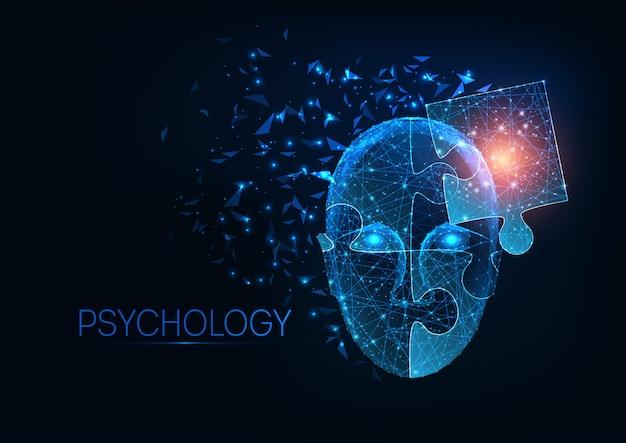 Futuristisch gloeiend laag veelhoekig menselijk hoofd dat van puzzelstukken wordt gemaakt op donkerblauwe achtergrond.