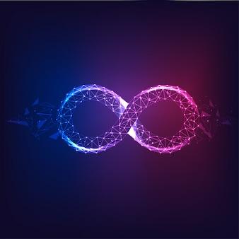 Futuristisch gloeiend laag veelhoekig purper aan blauw oneindigheidssymbool dat op dark wordt geïsoleerd.
