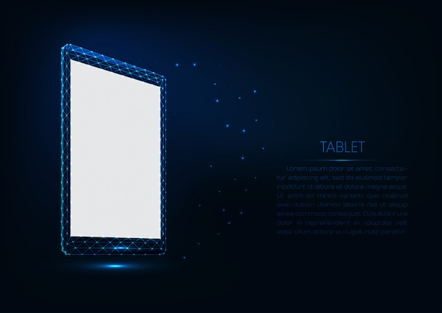 Futuristisch gloeiend laag veelhoekig vectortabletmodel met het witte scherm op donkerblauwe achtergrond.