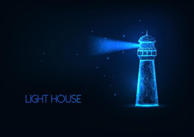 Futuristisch gloeiend lo veelhoekig verlichtingshuis met lichtstraal die op donkerblauwe achtergrond wordt geïsoleerd.