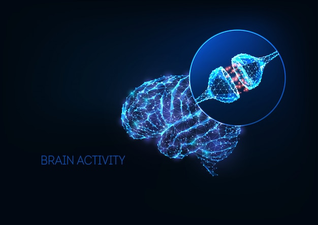 Futuristisch hersenactiviteitsconcept met gloeiende lage veelhoekige menselijke hersenen en neuronsynapsen