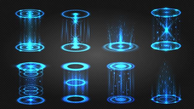 Futuristisch hologramportaal, magische teleport of level-up effect. gloeiende neon cirkel met licht schittert voor spel. digitale podium vector set