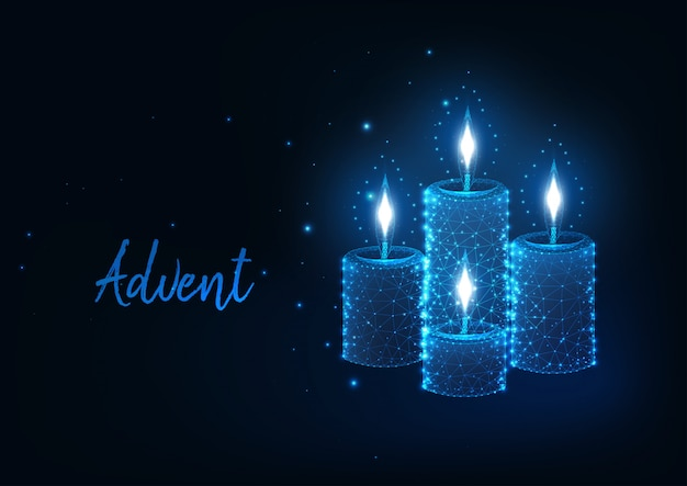 Futuristisch kerstmis advent-concept met gloeiende lage veelhoekige brandende kaarsen met lichten
