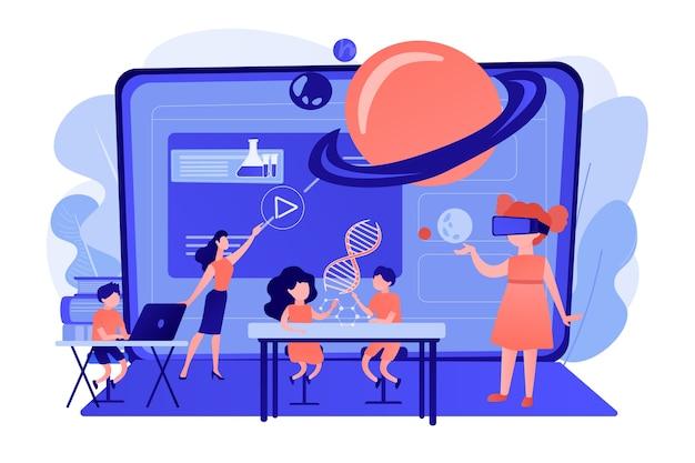 Futuristisch klaslokaal, kleine kinderen studeren met hightech apparatuur