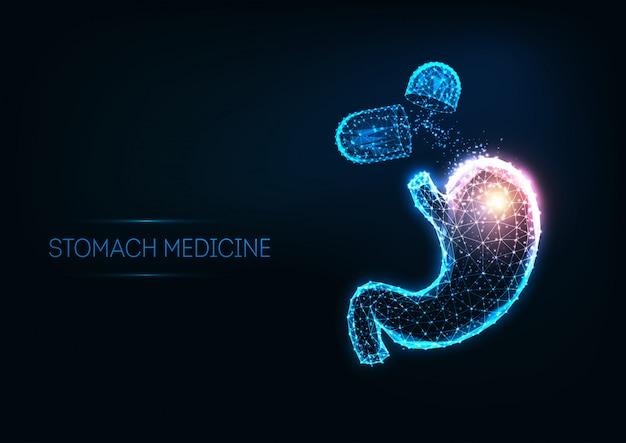Futuristisch maaggeneeskunde concept met gloeiende veelhoekige menselijke maag en capsule pillen