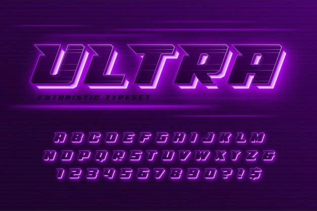 Futuristisch neon alfabet concept