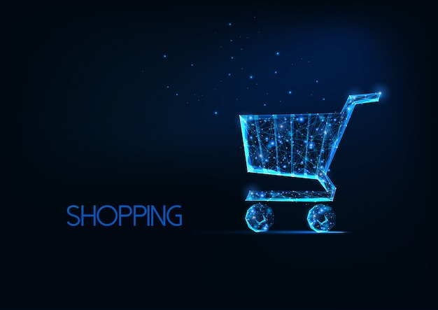 Futuristisch online het winkelen concept met gloeiend laag veelhoekig boodschappenwagentje op donkerblauwe achtergrond.