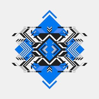 Futuristisch ontwerp op blauwe diamant