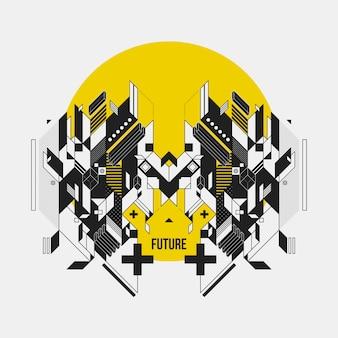 Futuristisch ontwerp op gele cirkel