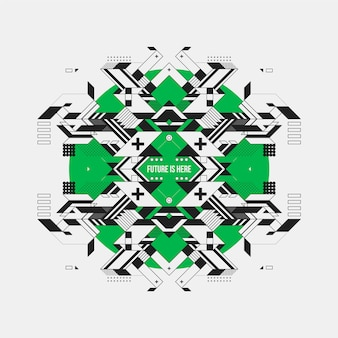 Futuristisch ontwerp op groene cirkel