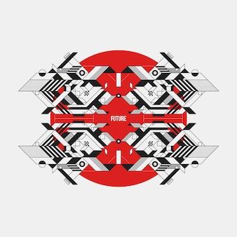 Futuristisch ontwerp op rode cirkel