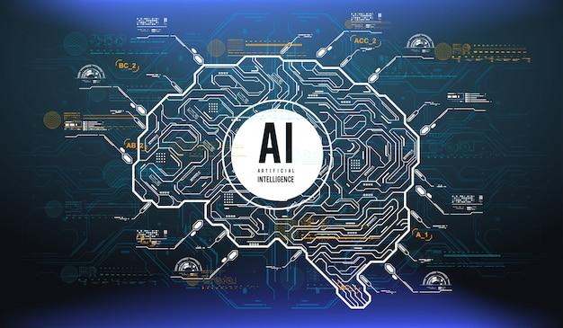 Futuristisch ontwerp van een kunstmatige intelligentie hersenen met futuristische hud-elementen.