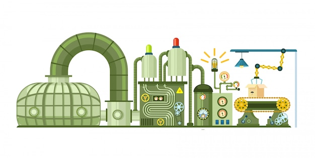 Futuristisch productieconcept met transportband