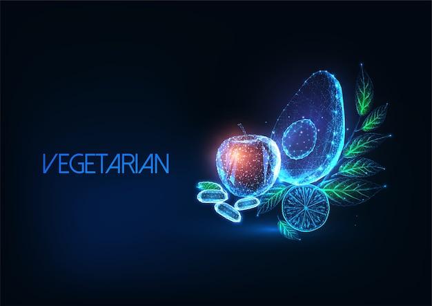 Futuristisch vegetarisch of veganistisch dieetconcept met gloeiende lage veelhoekige avocado, appel, citroen, bonen en greens op donkerblauwe achtergrond. modern draadframe mesh.